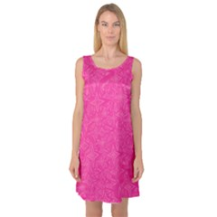 Geometric Pattern Wallpaper Pink Sleeveless Satin Nightdress