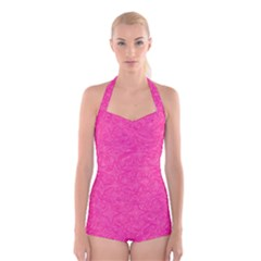 Geometric Pattern Wallpaper Pink Boyleg Halter Swimsuit