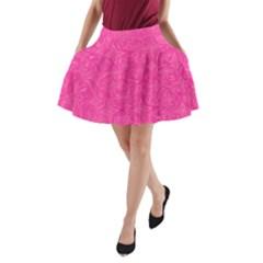 Geometric Pattern Wallpaper Pink A Line Pocket Skirt