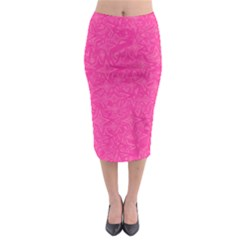 Geometric Pattern Wallpaper Pink Midi Pencil Skirt