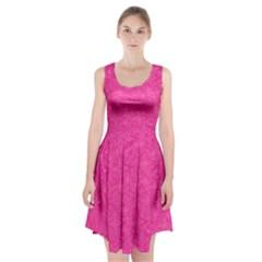 Geometric Pattern Wallpaper Pink Racerback Midi Dress