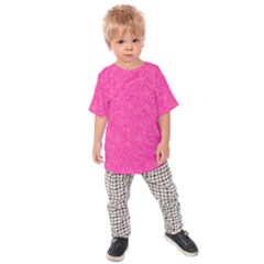 Geometric Pattern Wallpaper Pink Kids  Raglan Tee