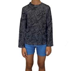 Black Rectangle Wallpaper Grey Kids  Long Sleeve Swimwear