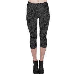 Black Rectangle Wallpaper Grey Capri Leggings