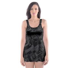 Black Rectangle Wallpaper Grey Skater Dress Swimsuit