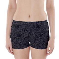 Black Rectangle Wallpaper Grey Boyleg Bikini Wrap Bottoms