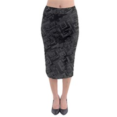 Black Rectangle Wallpaper Grey Midi Pencil Skirt