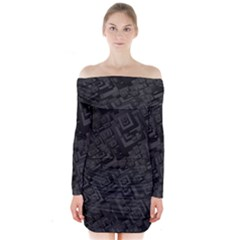Black Rectangle Wallpaper Grey Long Sleeve Off Shoulder Dress