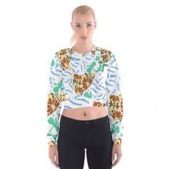 Broken Tile Texture Background Women s Cropped Sweatshirt