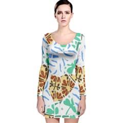 Broken Tile Texture Background Long Sleeve Velvet Bodycon Dress