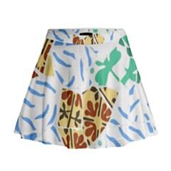 Broken Tile Texture Background Mini Flare Skirt