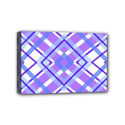 Geometric Plaid Pale Purple Blue Mini Canvas 6  X 4
