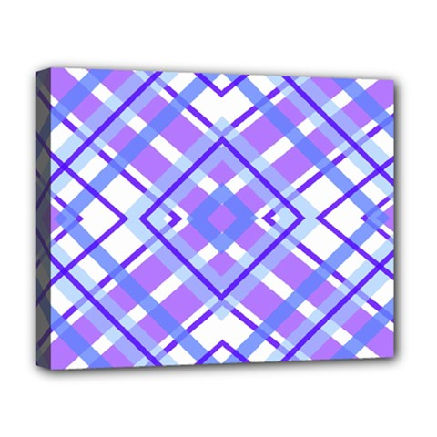 Geometric Plaid Pale Purple Blue Deluxe Canvas 20  x 16