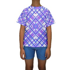 Geometric Plaid Pale Purple Blue Kids  Short Sleeve Swimwear