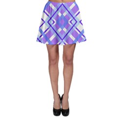 Geometric Plaid Pale Purple Blue Skater Skirt