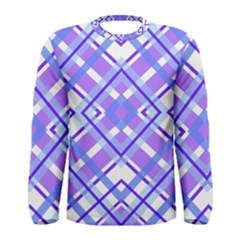 Geometric Plaid Pale Purple Blue Men s Long Sleeve Tee