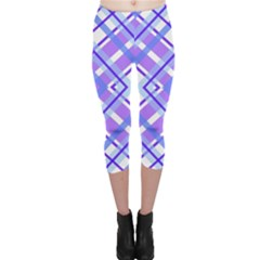 Geometric Plaid Pale Purple Blue Capri Leggings