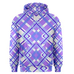 Geometric Plaid Pale Purple Blue Men s Pullover Hoodie