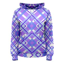 Geometric Plaid Pale Purple Blue Women s Pullover Hoodie