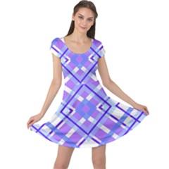 Geometric Plaid Pale Purple Blue Cap Sleeve Dresses