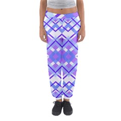 Geometric Plaid Pale Purple Blue Women s Jogger Sweatpants