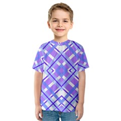 Geometric Plaid Pale Purple Blue Kids  Sport Mesh Tee