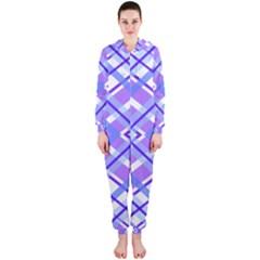 Geometric Plaid Pale Purple Blue Hooded Jumpsuit (ladies)