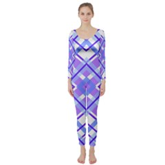 Geometric Plaid Pale Purple Blue Long Sleeve Catsuit
