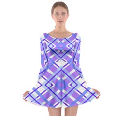 Geometric Plaid Pale Purple Blue Long Sleeve Skater Dress