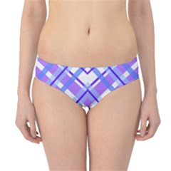 Geometric Plaid Pale Purple Blue Hipster Bikini Bottoms