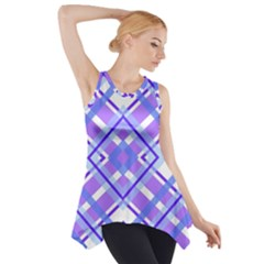 Geometric Plaid Pale Purple Blue Side Drop Tank Tunic