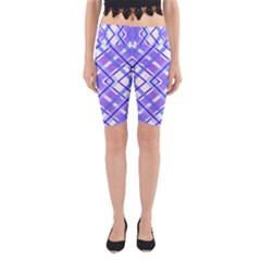 Geometric Plaid Pale Purple Blue Yoga Cropped Leggings