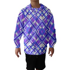 Geometric Plaid Pale Purple Blue Hooded Wind Breaker (kids)