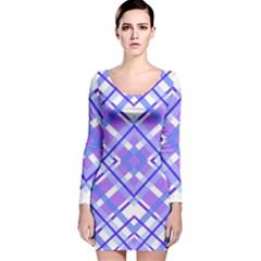 Geometric Plaid Pale Purple Blue Long Sleeve Velvet Bodycon Dress