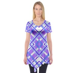 Geometric Plaid Pale Purple Blue Short Sleeve Tunic
