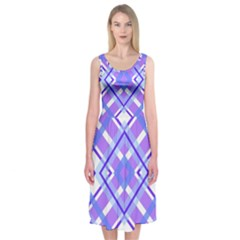 Geometric Plaid Pale Purple Blue Midi Sleeveless Dress