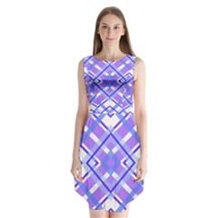 Geometric Plaid Pale Purple Blue Sleeveless Chiffon Dress