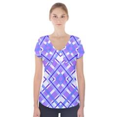 Geometric Plaid Pale Purple Blue Short Sleeve Front Detail Top