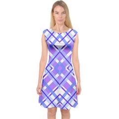 Geometric Plaid Pale Purple Blue Capsleeve Midi Dress