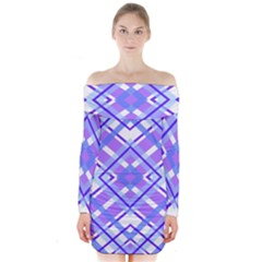 Geometric Plaid Pale Purple Blue Long Sleeve Off Shoulder Dress
