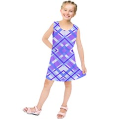 Geometric Plaid Pale Purple Blue Kids  Tunic Dress