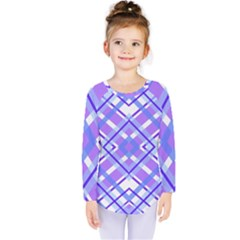 Geometric Plaid Pale Purple Blue Kids  Long Sleeve Tee