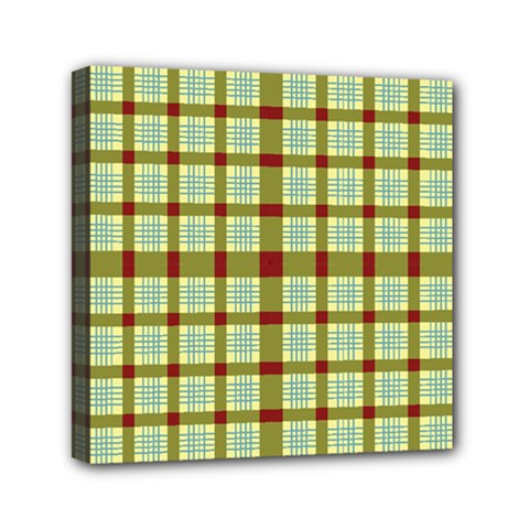 Geometric Tartan Pattern Square Mini Canvas 6  X 6