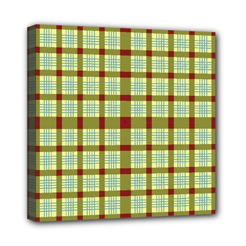 Geometric Tartan Pattern Square Mini Canvas 8  X 8