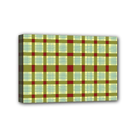 Geometric Tartan Pattern Square Mini Canvas 6  x 4