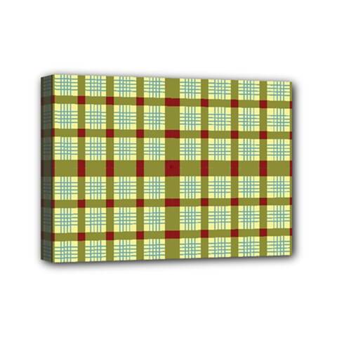 Geometric Tartan Pattern Square Mini Canvas 7  X 5