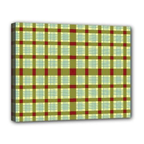 Geometric Tartan Pattern Square Canvas 14  X 11
