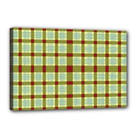 Geometric Tartan Pattern Square Canvas 18  X 12
