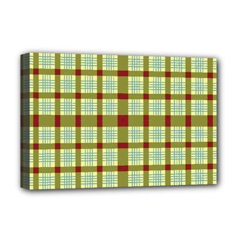 Geometric Tartan Pattern Square Deluxe Canvas 18  X 12
