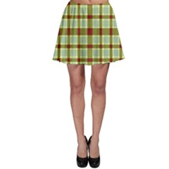 Geometric Tartan Pattern Square Skater Skirt
